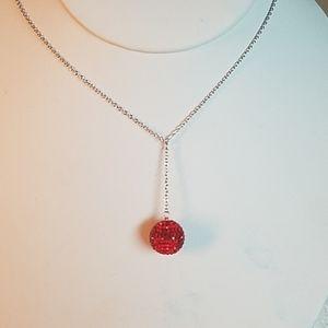 Red Swarovski Crystal Sterling Necklace